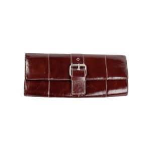 Kenneth Cole NY Leather Envelope Clutch Mahogany